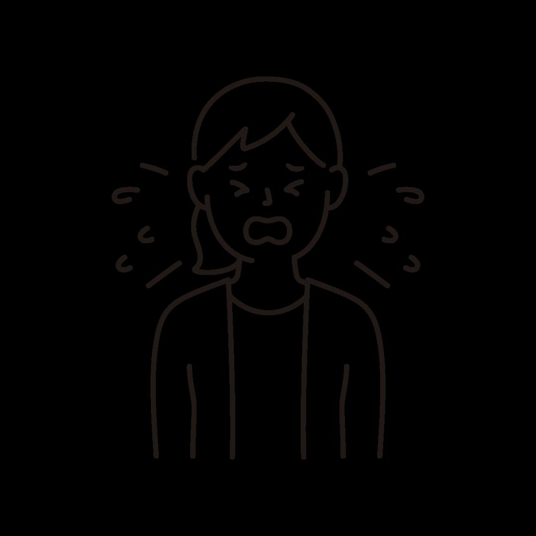 くしゃみをする女性のイラスト(線のみ)
