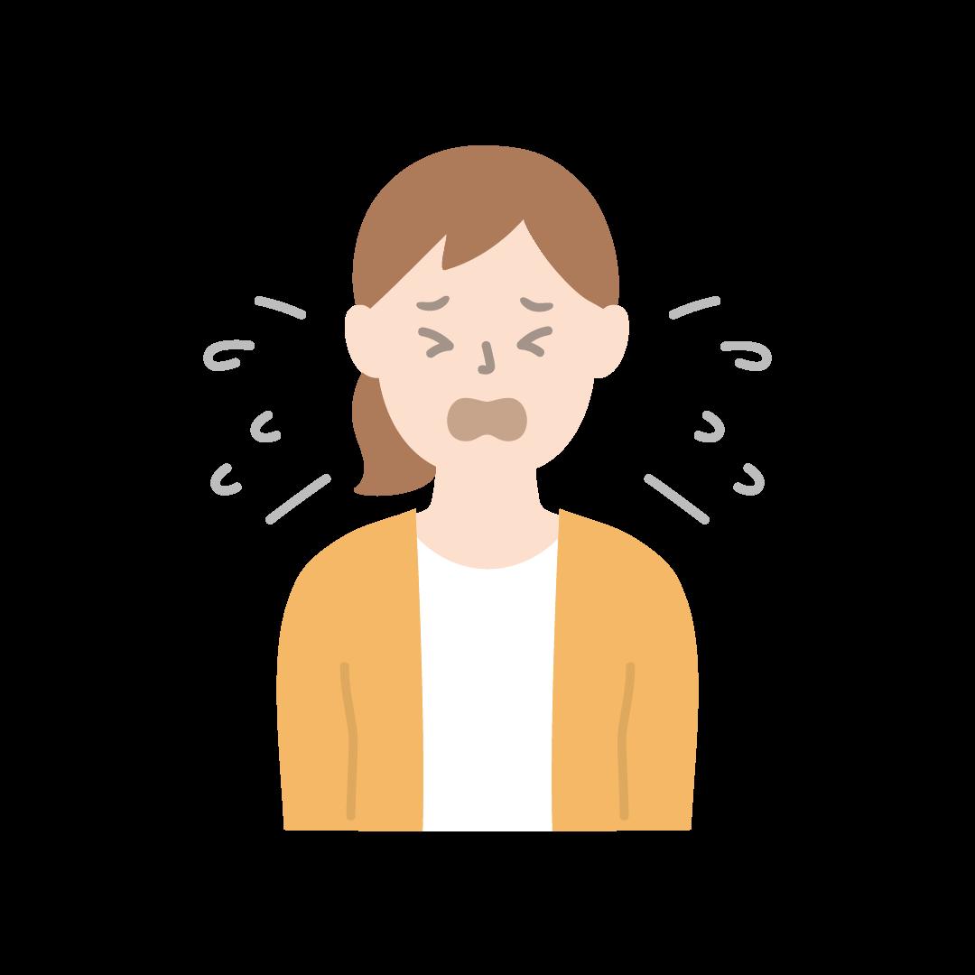 くしゃみをする女性のイラスト(塗り)