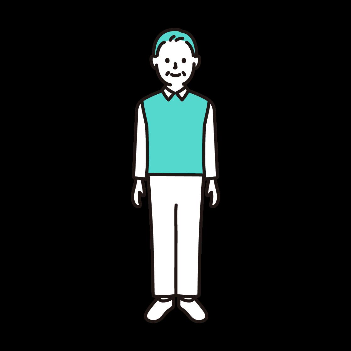 50代・60代の男性(全身)の単色イラスト