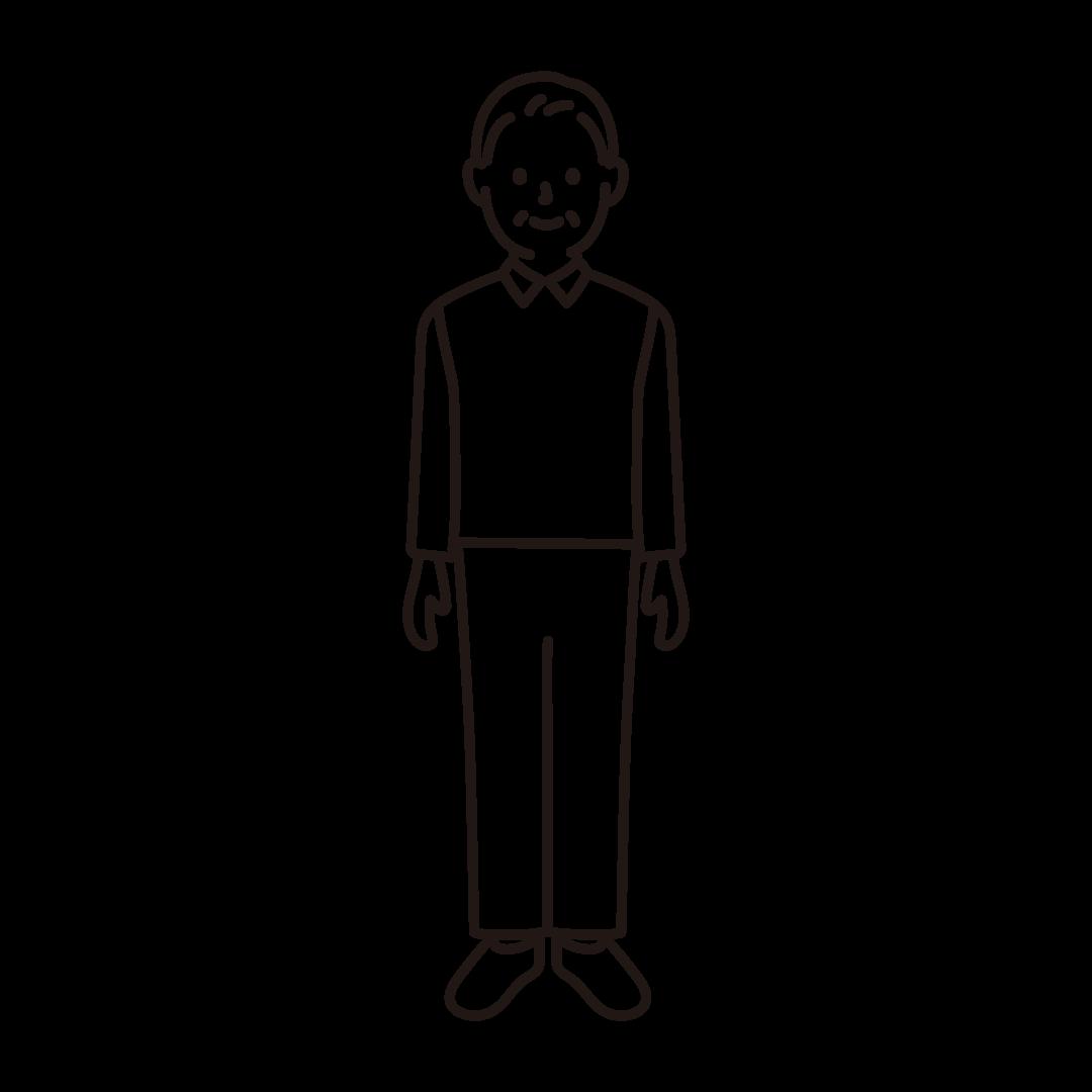 50代・60代の男性のイラスト(線のみ)