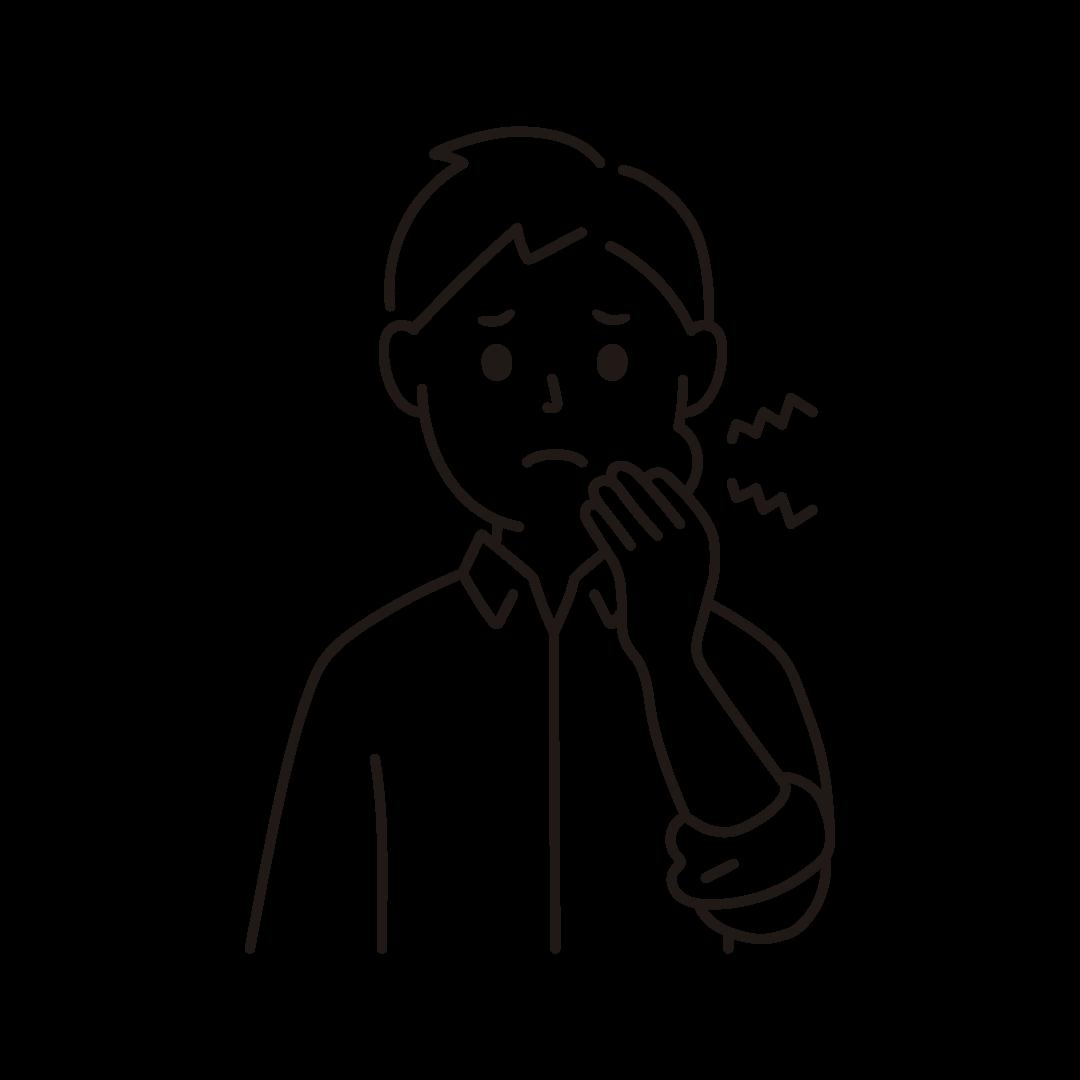 虫歯で歯が痛い男性のイラスト(線のみ)