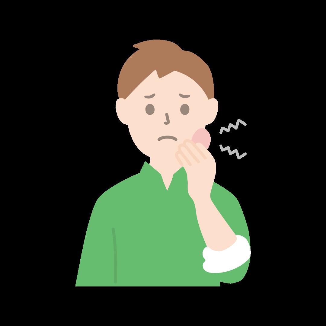 虫歯で歯が痛い男性のイラスト(塗り)