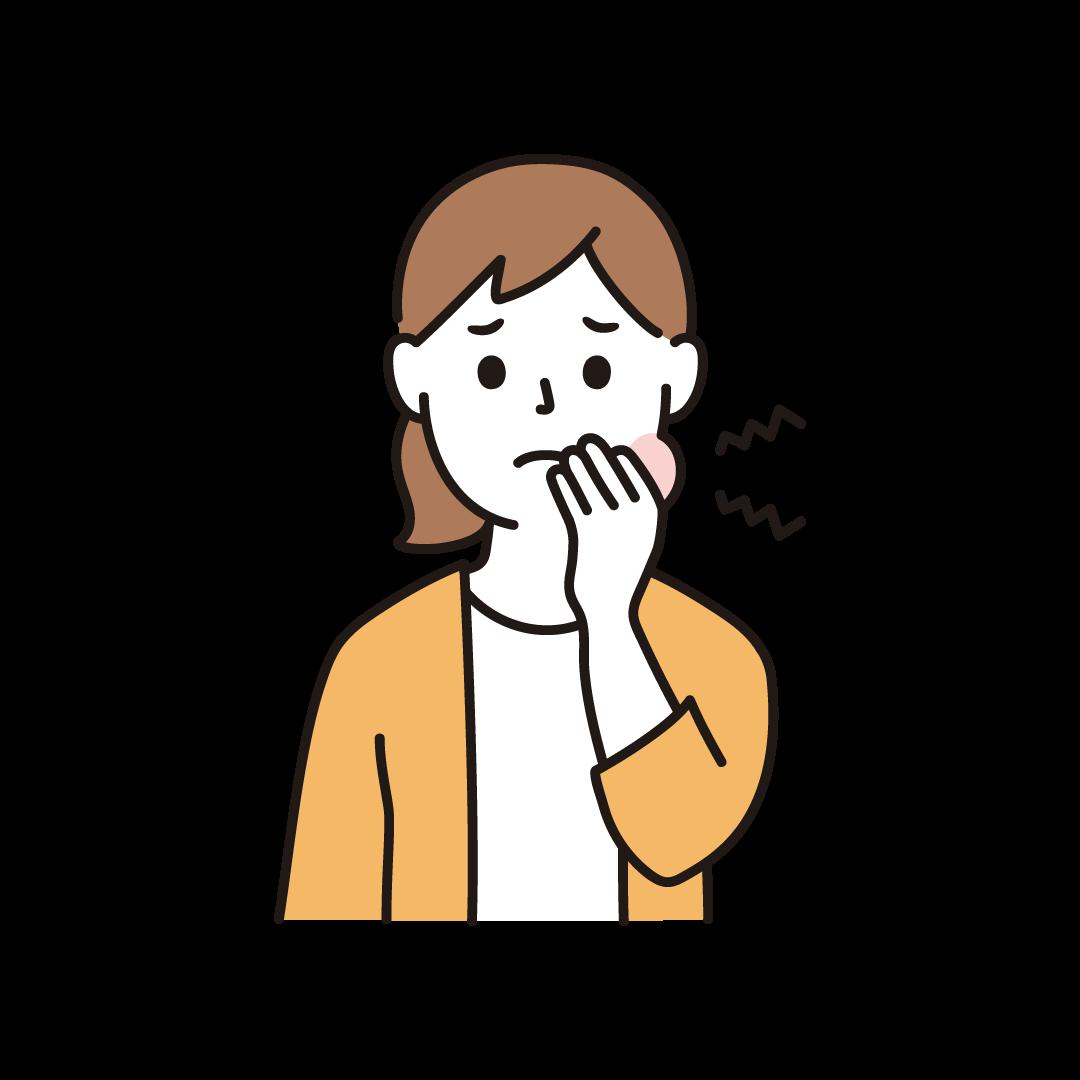 虫歯で歯が痛い女性のイラスト