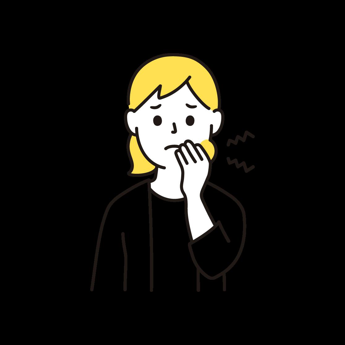 虫歯の女性の単色イラスト