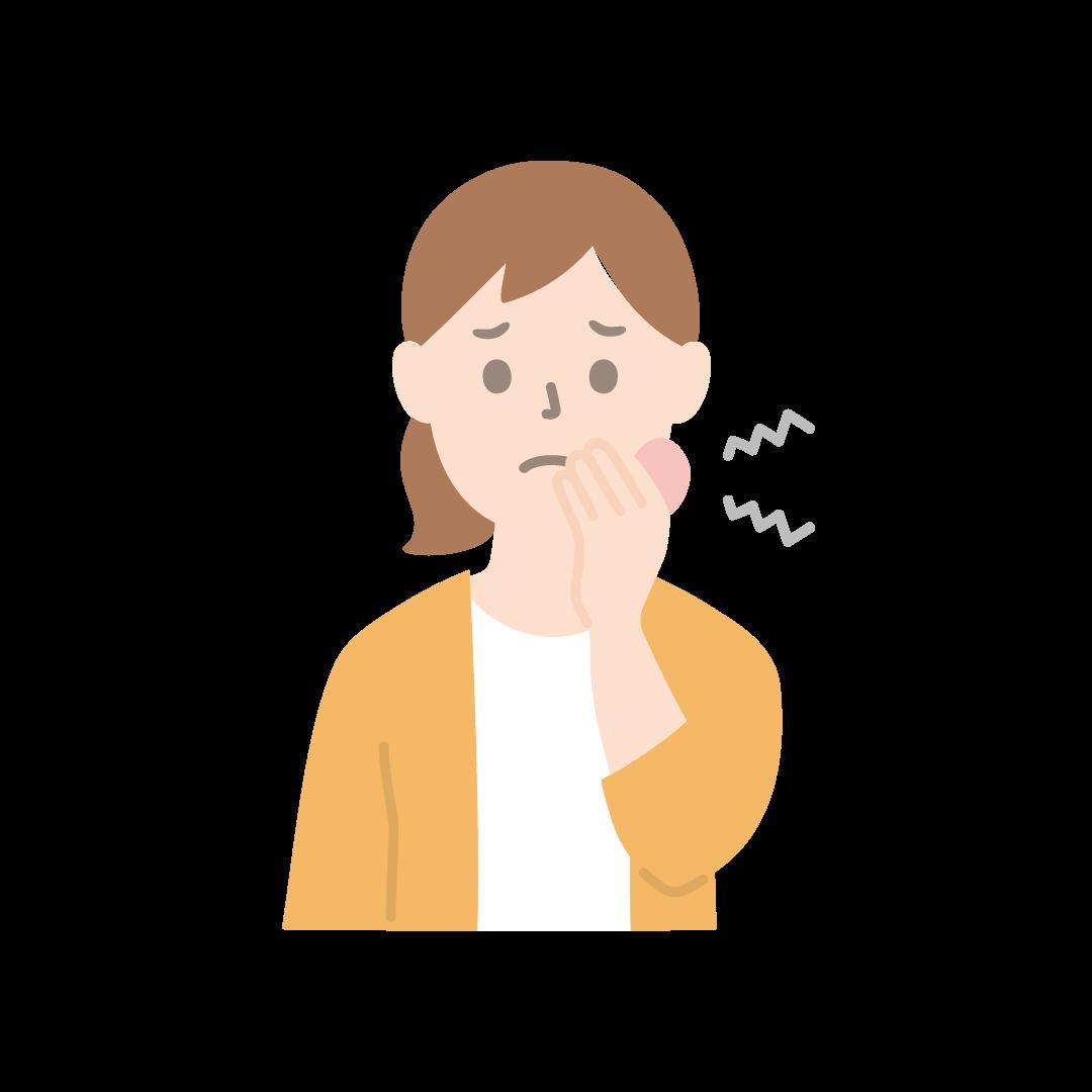 虫歯で歯が痛い女性のイラスト(塗り)