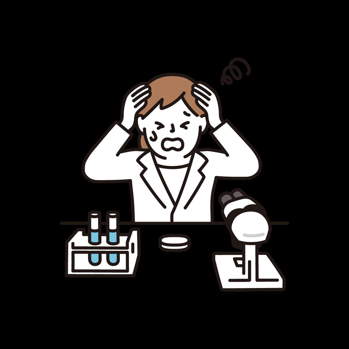 頭を抱える女性研究者のイラスト