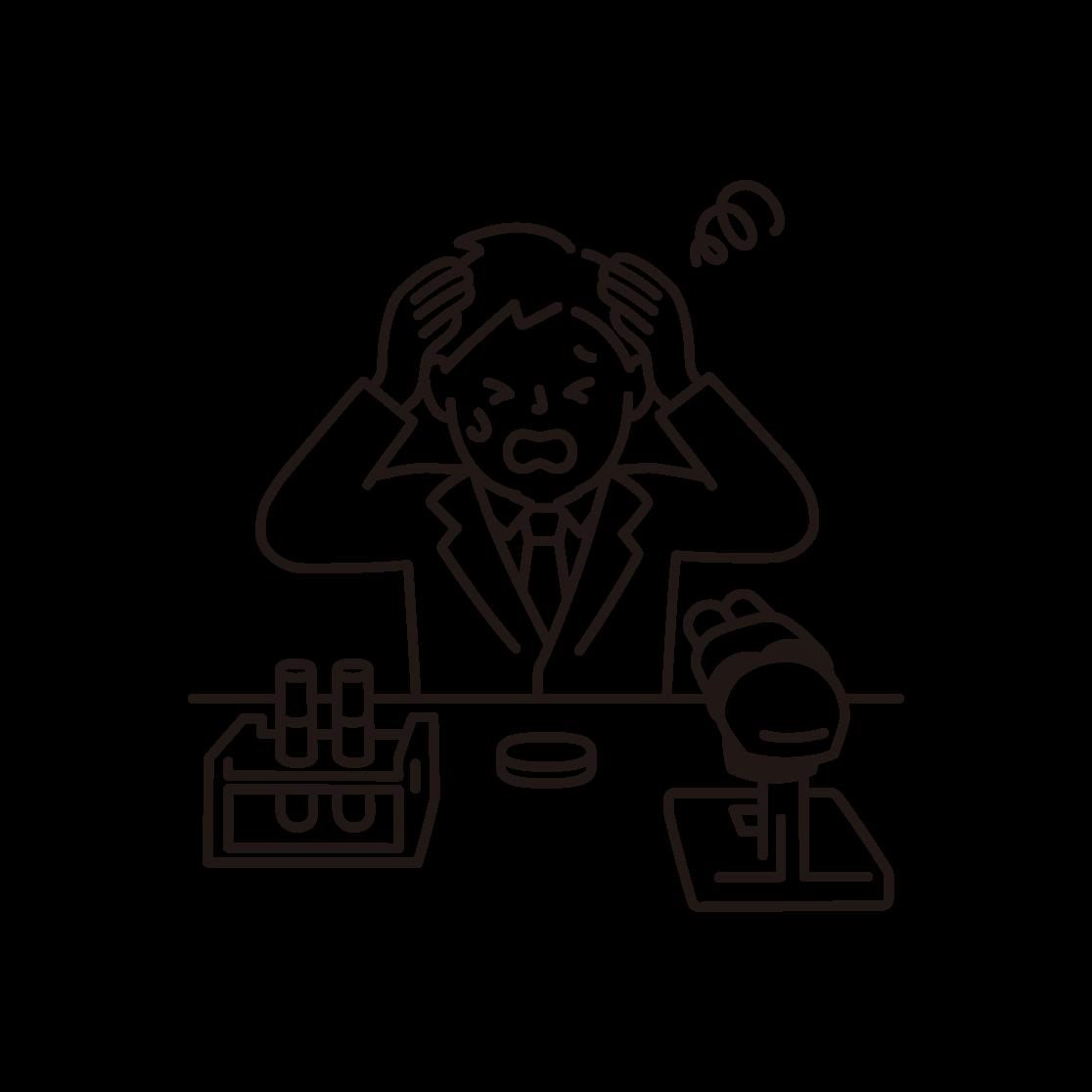 頭を抱える研究者(男性)の線画イラスト