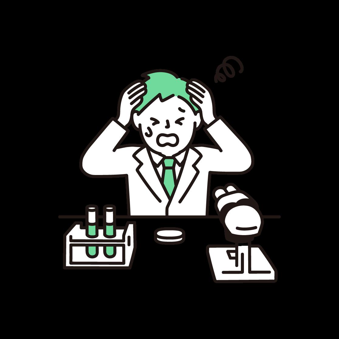 頭を抱える研究者(男性)の単色イラスト