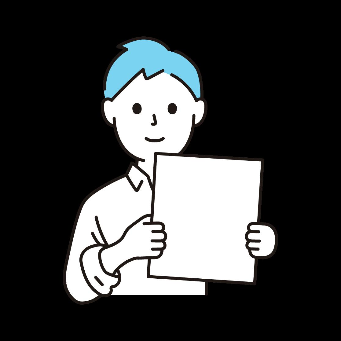 紙・ボードをもつ男性の単色イラスト