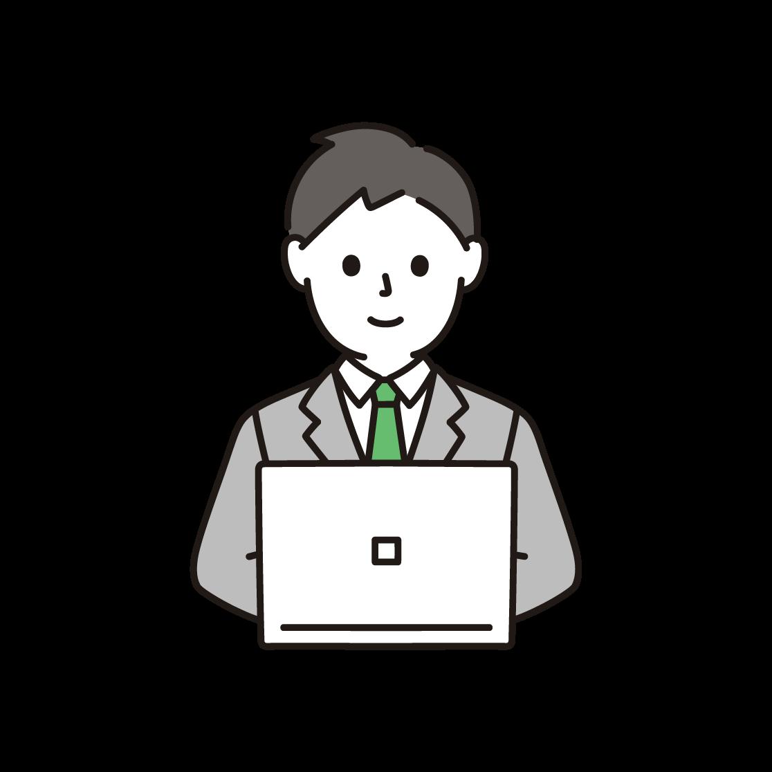 パソコンを打つビジネスマンのイラスト