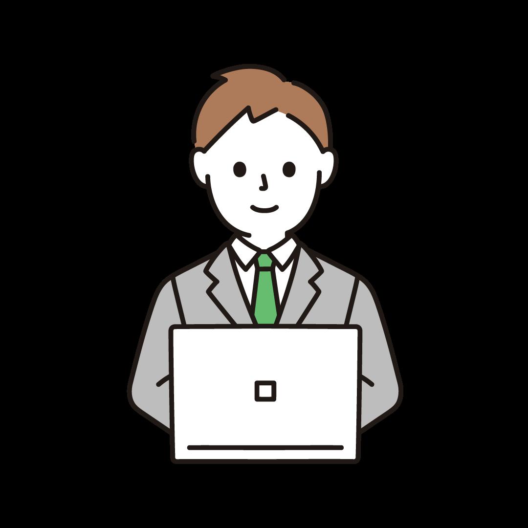 パソコンを打つビジネスマン