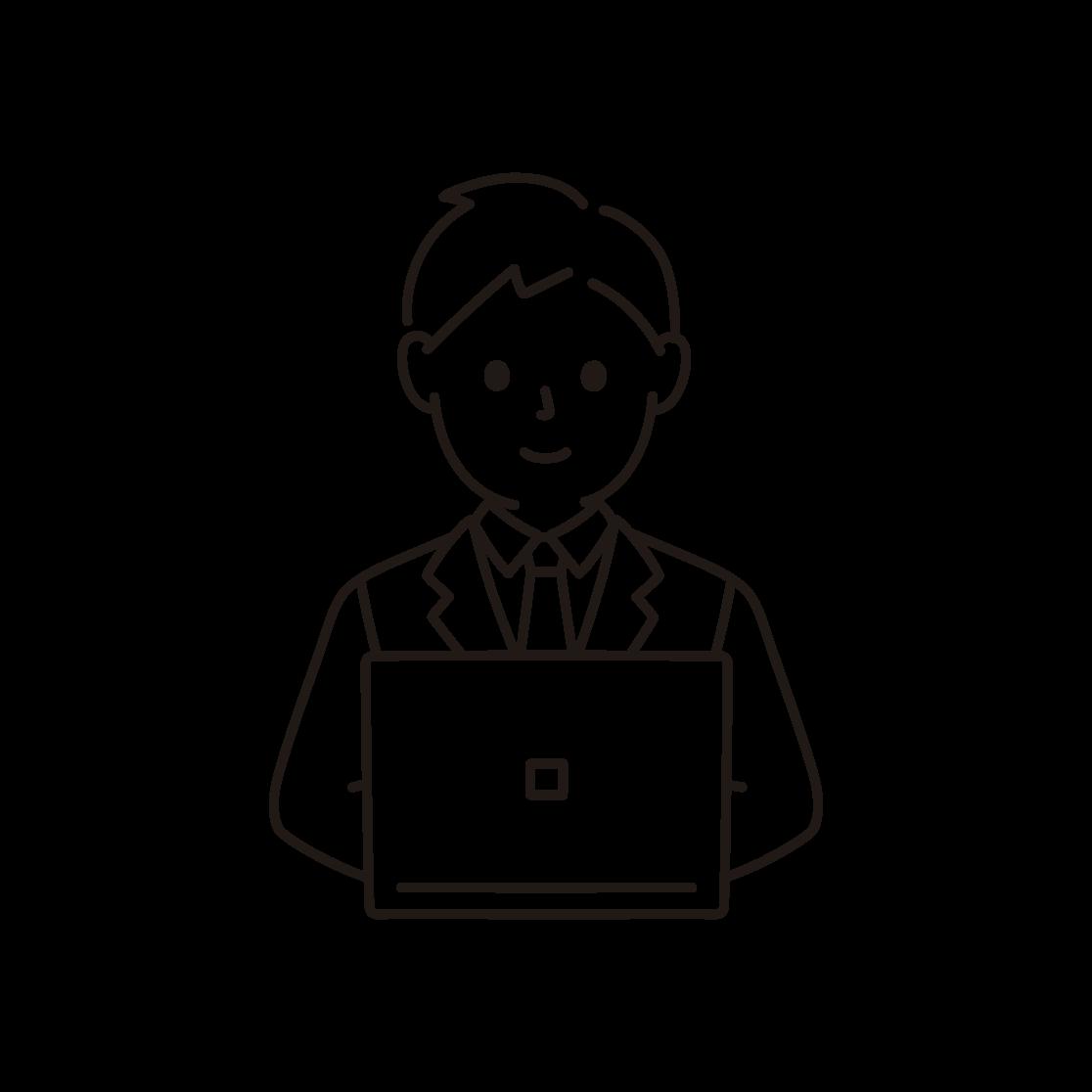 パソコンを打つビジネスマンの線画イラスト