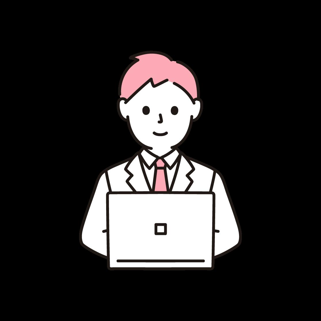 パソコンを打つビジネスマンの単色イラスト