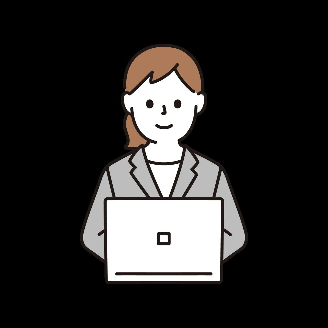 パソコンを打つビジネスウーマン