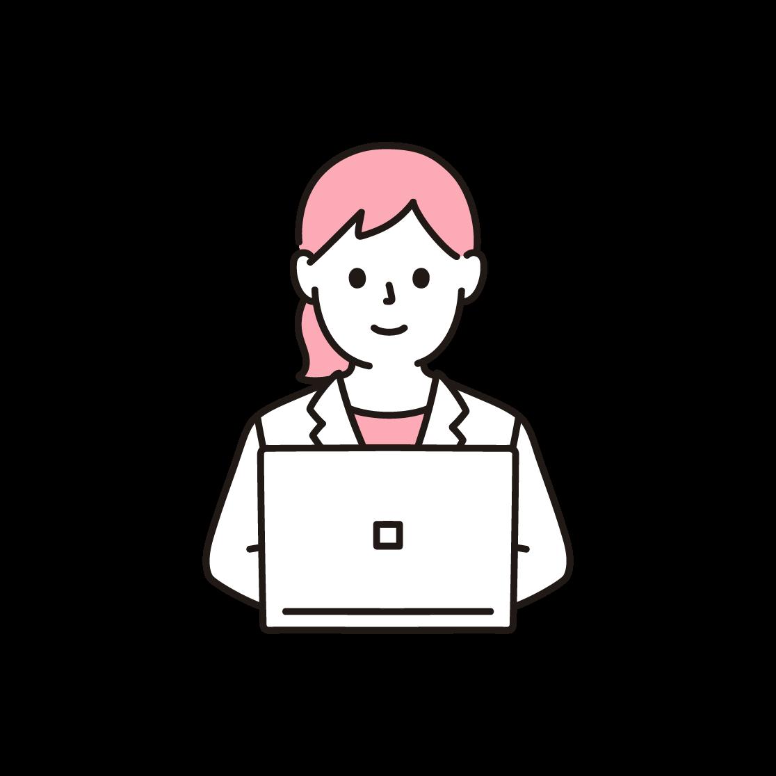 パソコンを打つビジネスウーマンの単色イラスト