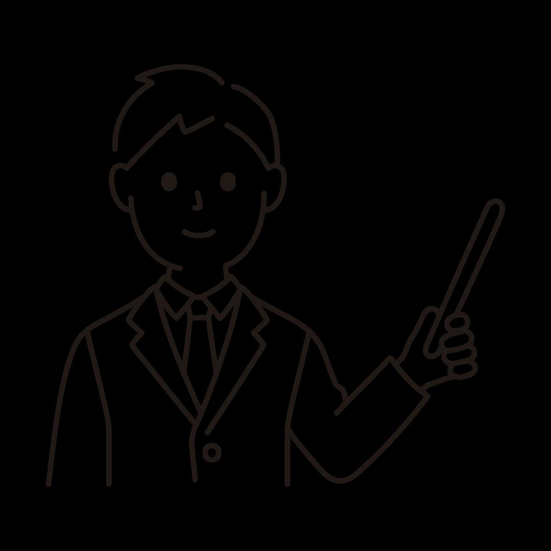 指示棒をもったビジネスマンのイラスト(線のみ)