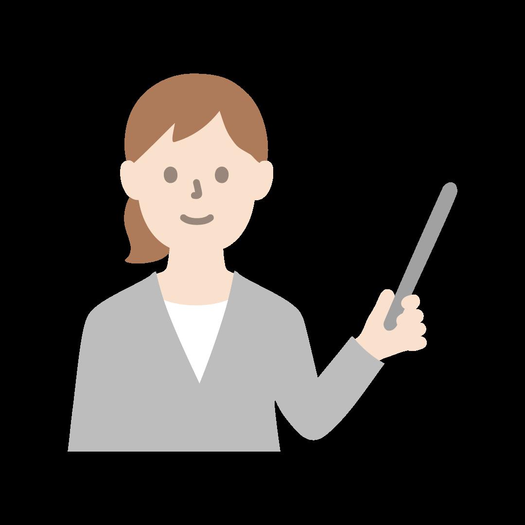指示棒をもったビジネスウーマンのイラスト(塗り)