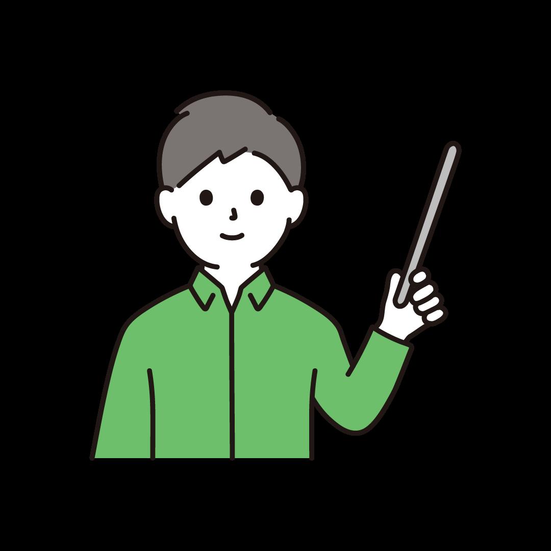 指示棒をもつ男性のイラスト