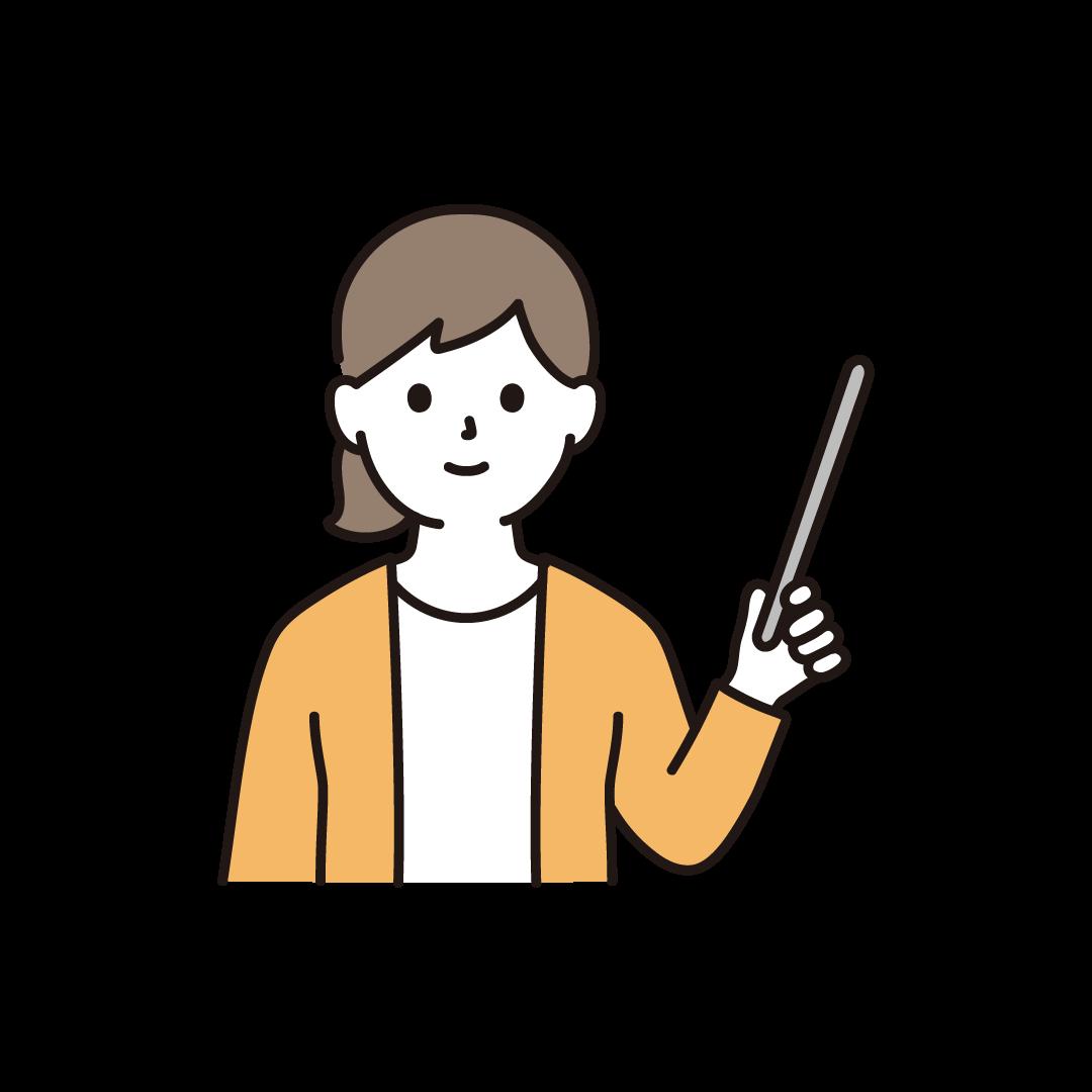 指示棒をもつ女性のイラスト