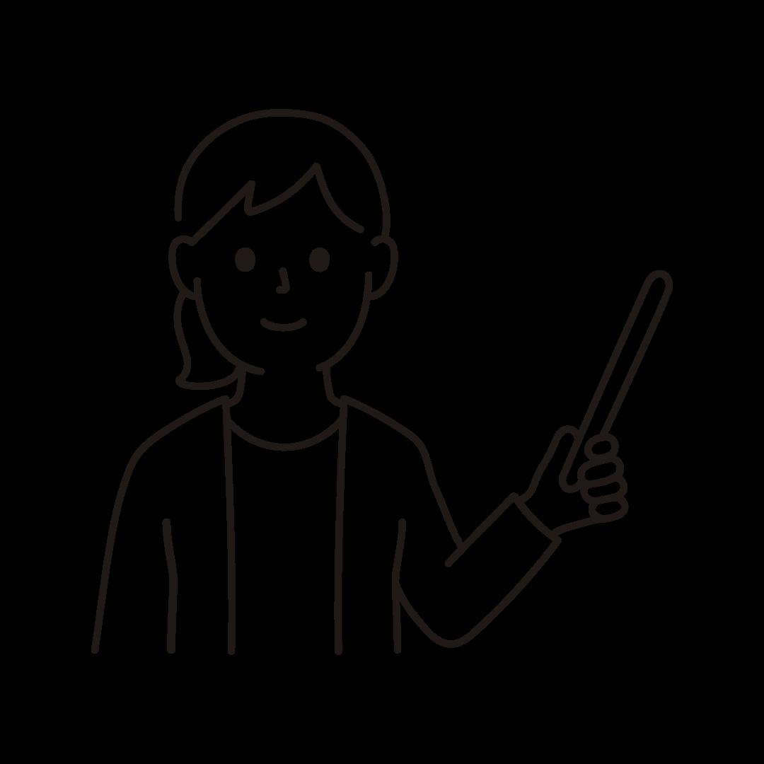 指し棒をもって指示・説明をする女性のイラスト(線のみ)