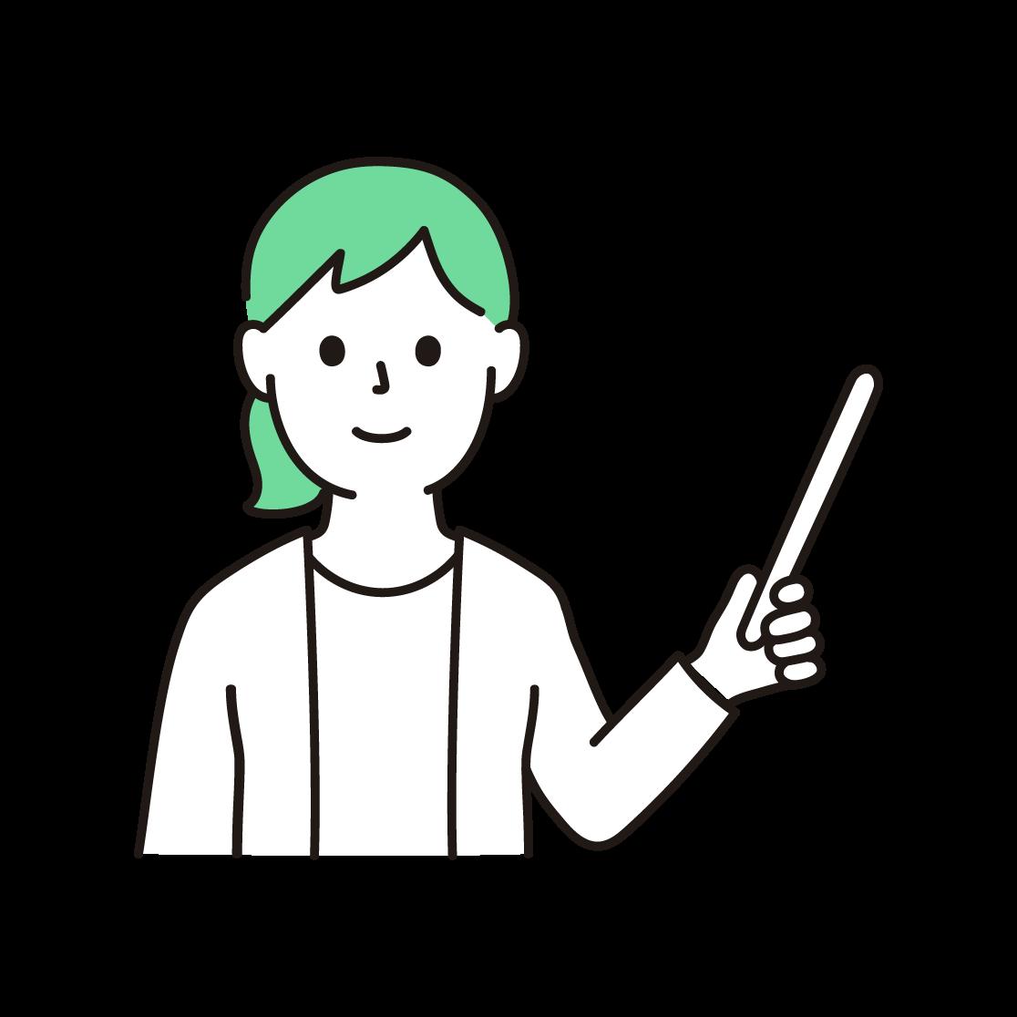 指し棒をもった女性の単色イラスト