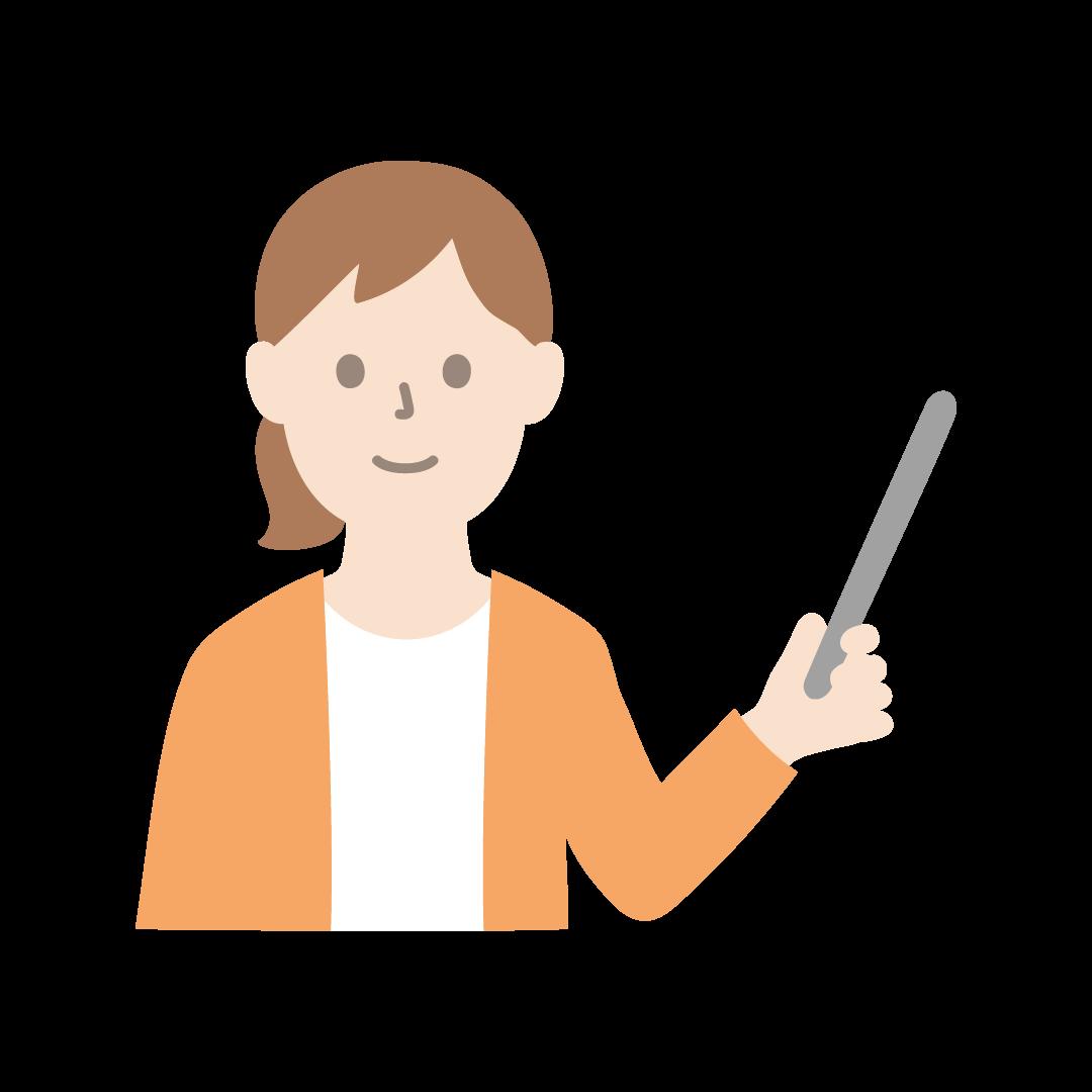 指し棒をもって指示・説明をする女性のイラスト(塗り)