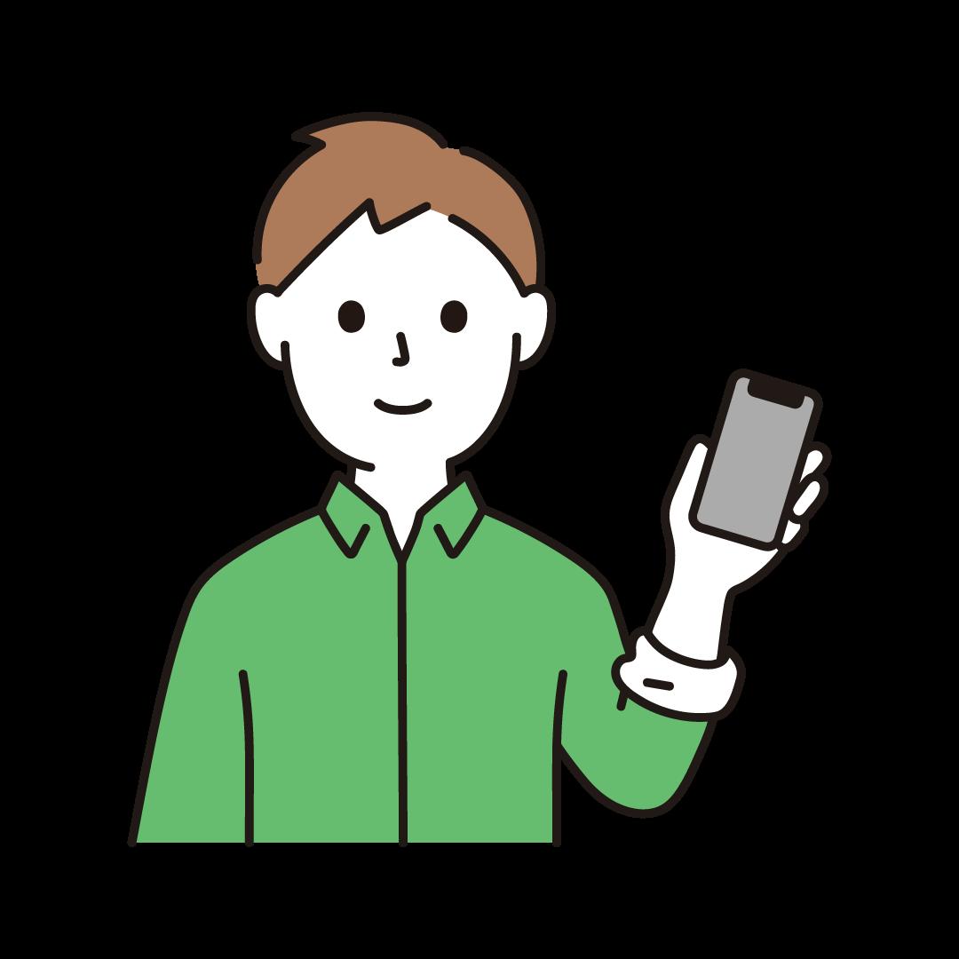 スマートフォンをもつ男性のイラスト