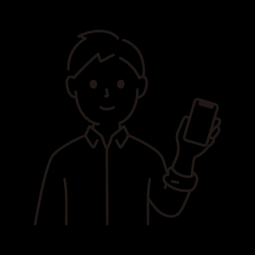 スマートフォンをもつ男性のイラスト(線のみ)