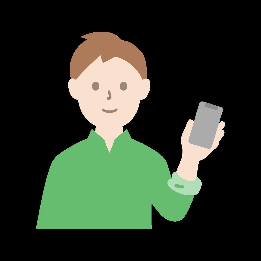 スマートフォンをもつ男性のイラスト(塗り)