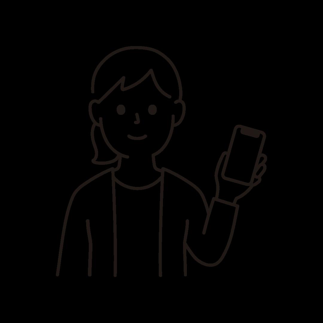 スマートフォンをもつ女性のイラスト(線のみ)