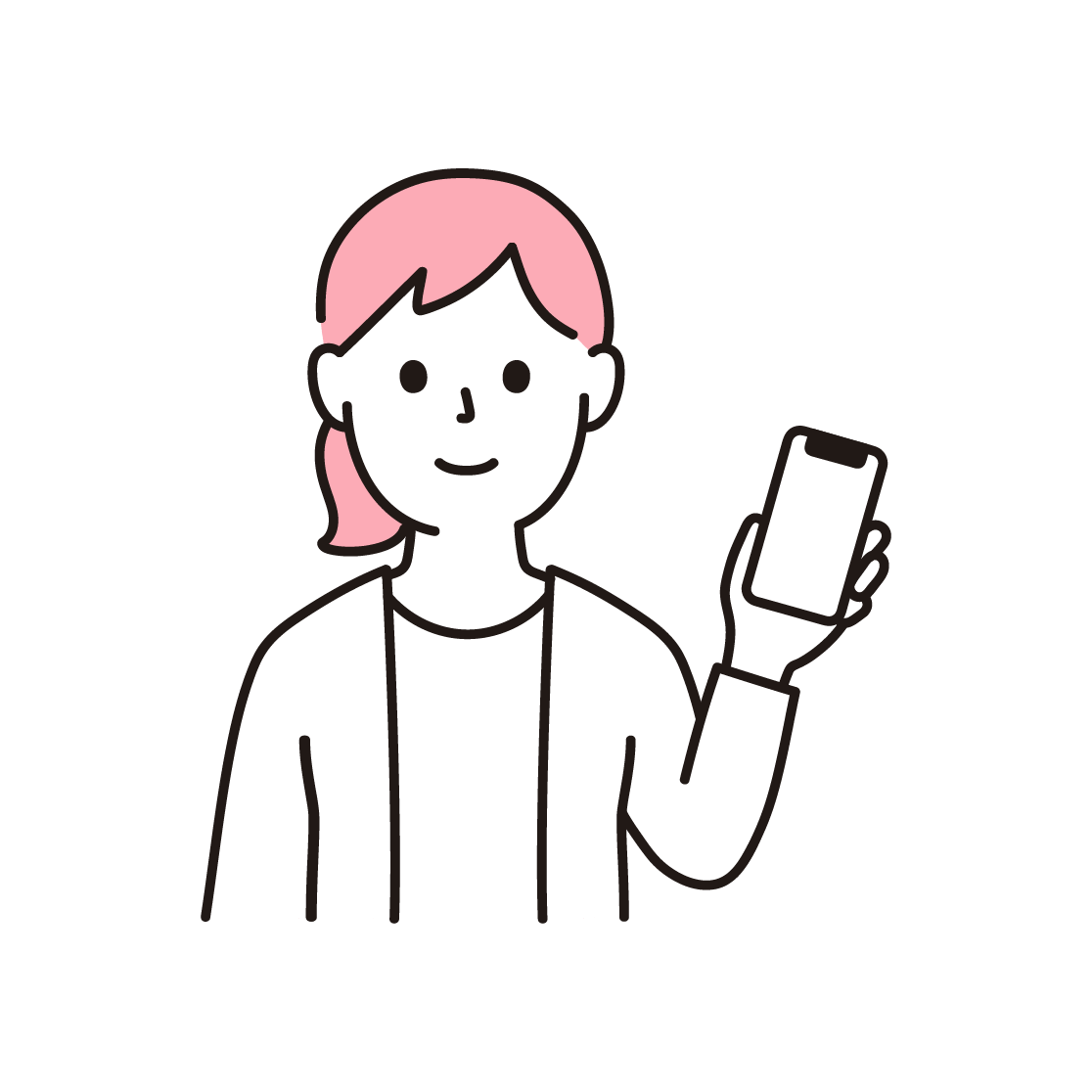 スマホをもつ女性の単色イラスト