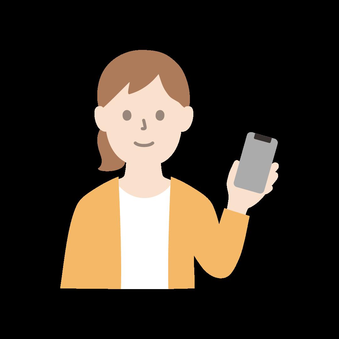 スマートフォンをもつ女性のイラスト(塗り)