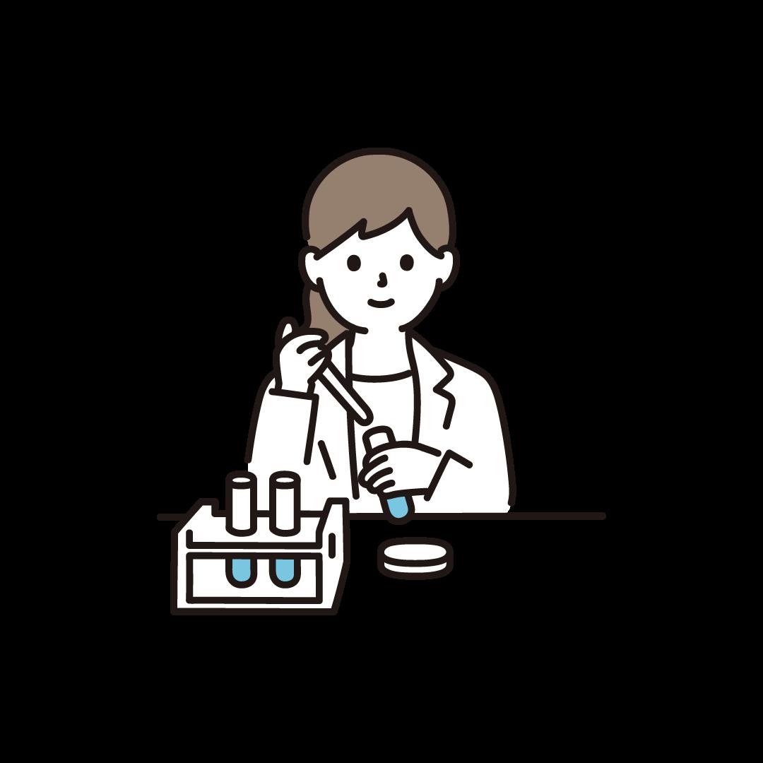 研究・科学実験をする女性のイラスト