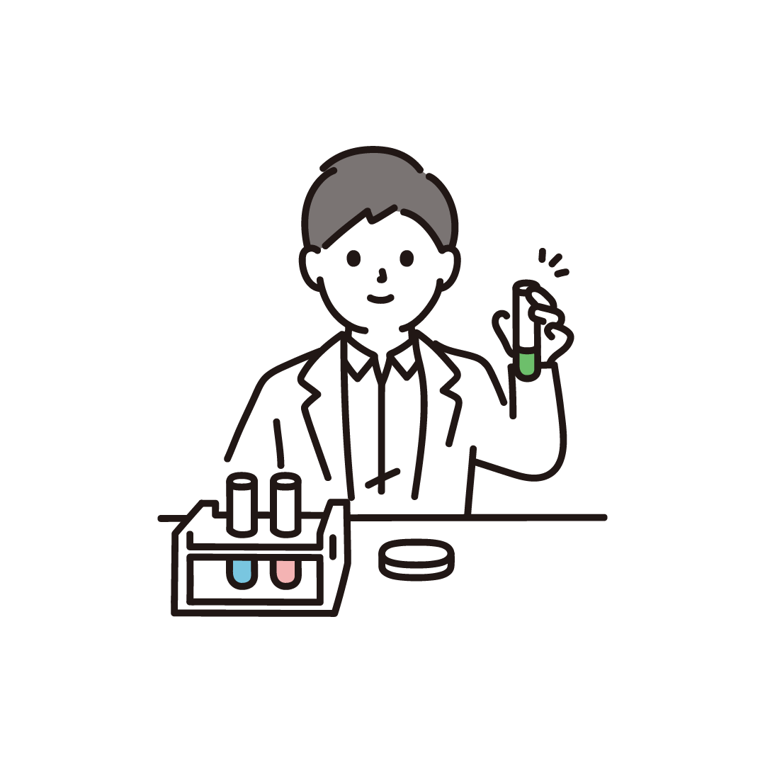試験管を持つ研究者のイラスト