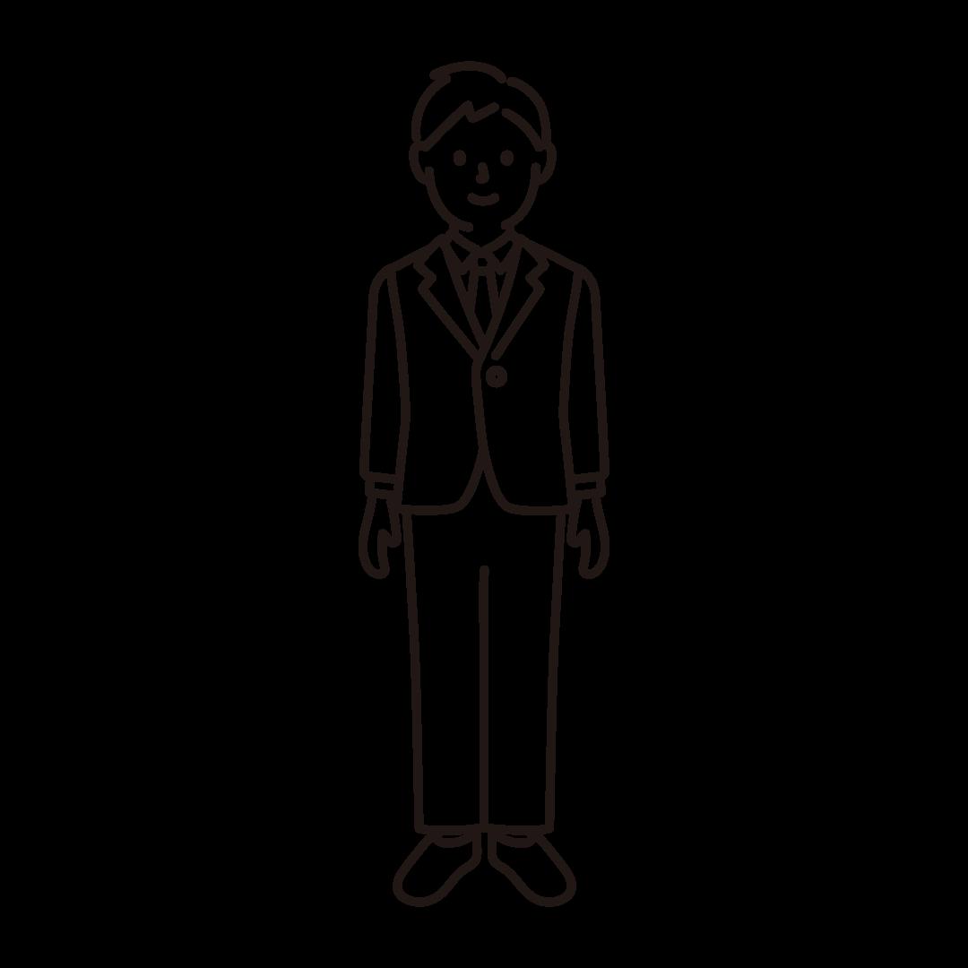スーツを着た男性のイラスト(線のみ)