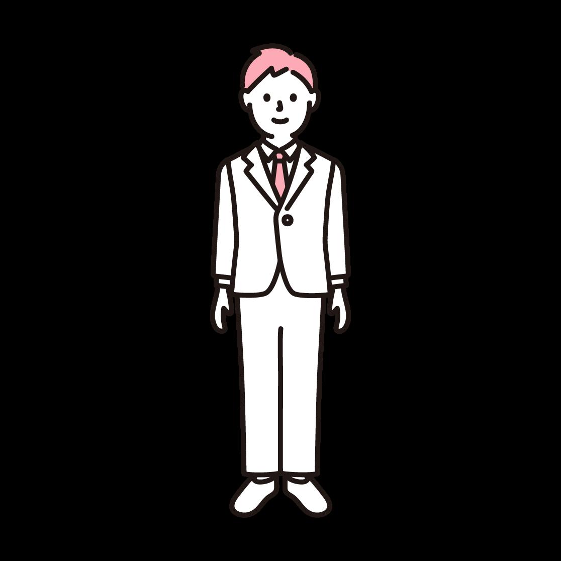 スーツを着た男性の単色イラスト