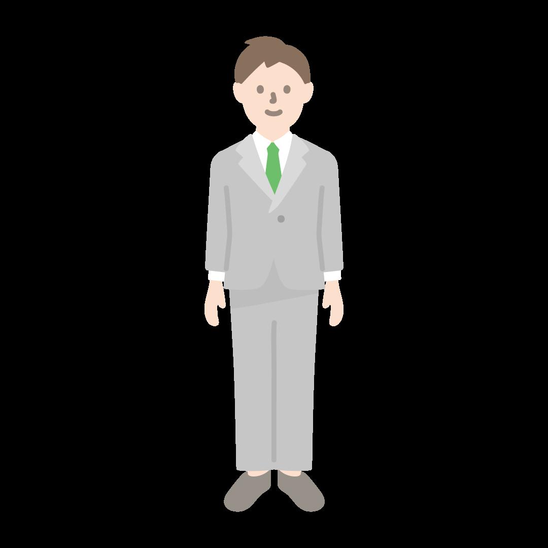 スーツを着た男性のイラスト(塗り)