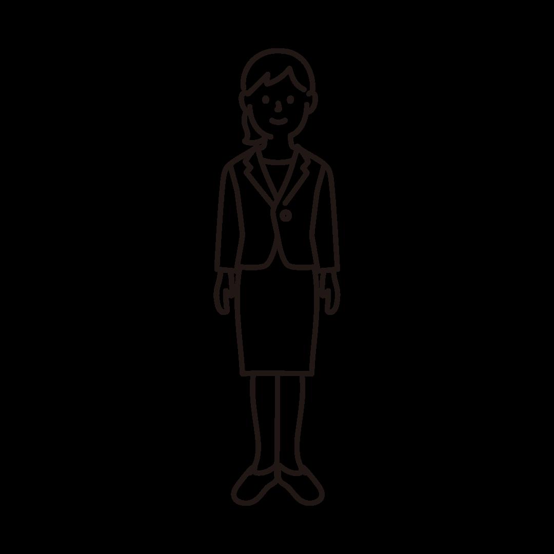 スーツを着た女性のイラスト(線のみ)