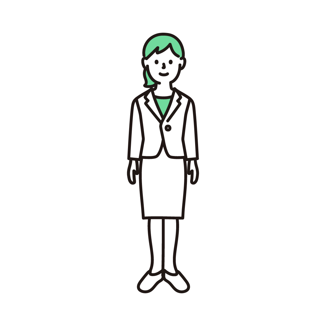 スーツを着た女性の単色イラスト