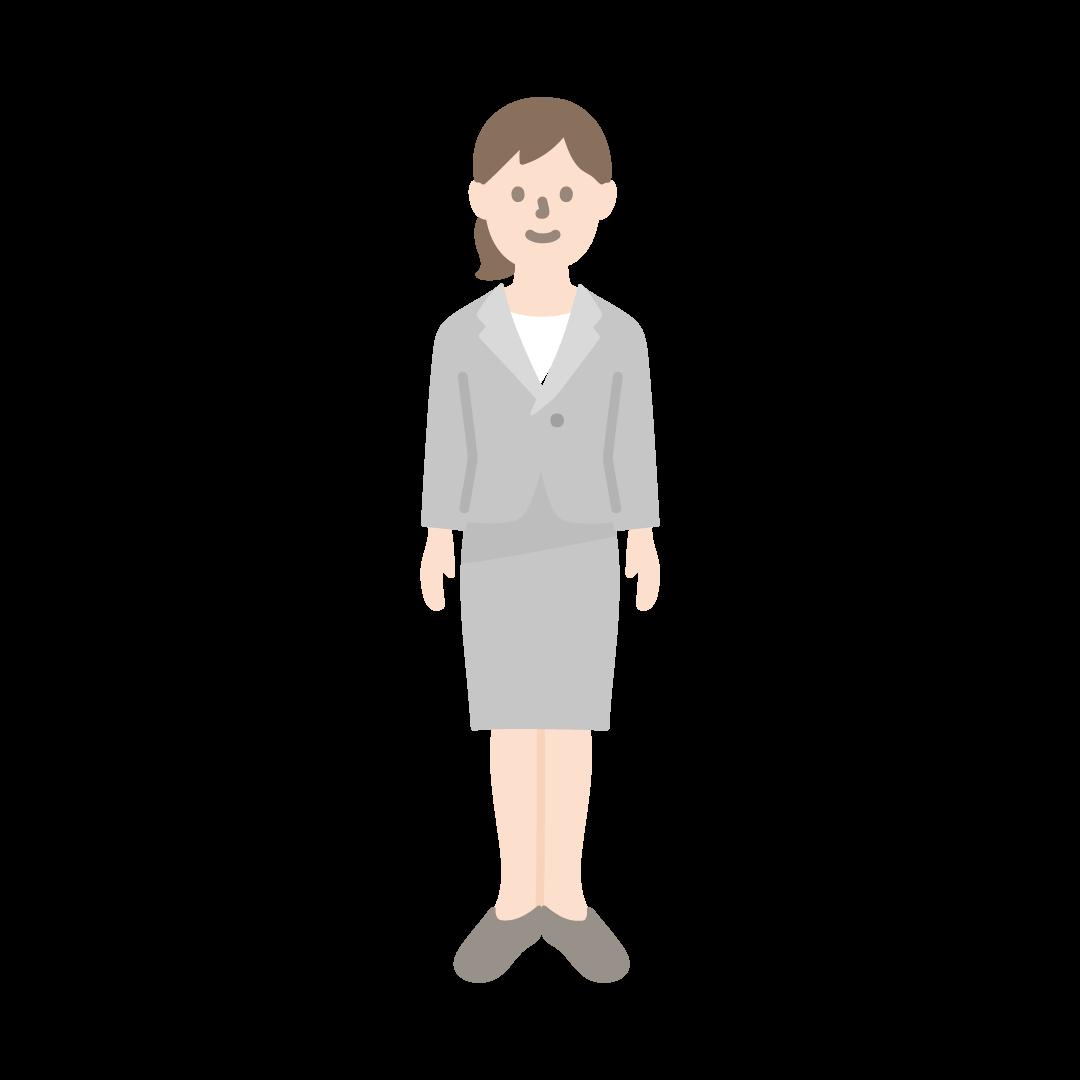スーツを着た女性のイラスト(塗り)