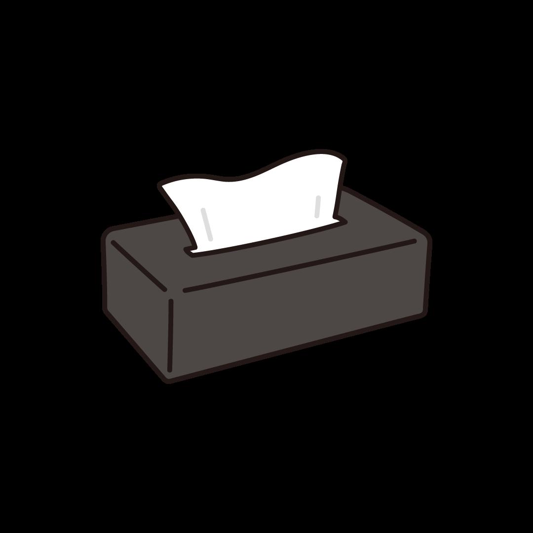 黒いケースに入ったティッシュペーパーのイラスト