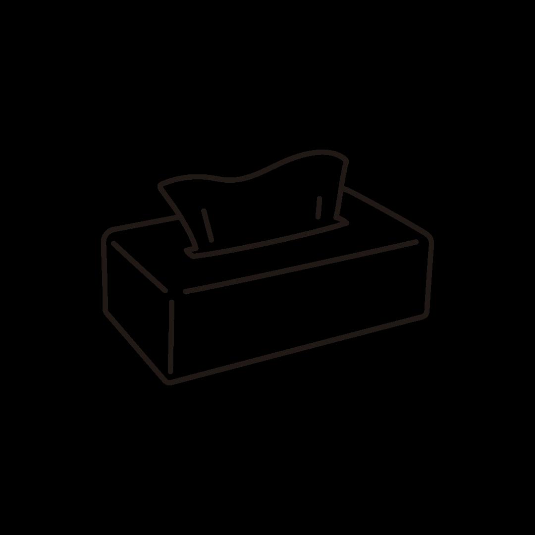 黒いケースに入ったティッシュペーパーのイラスト(線のみ)