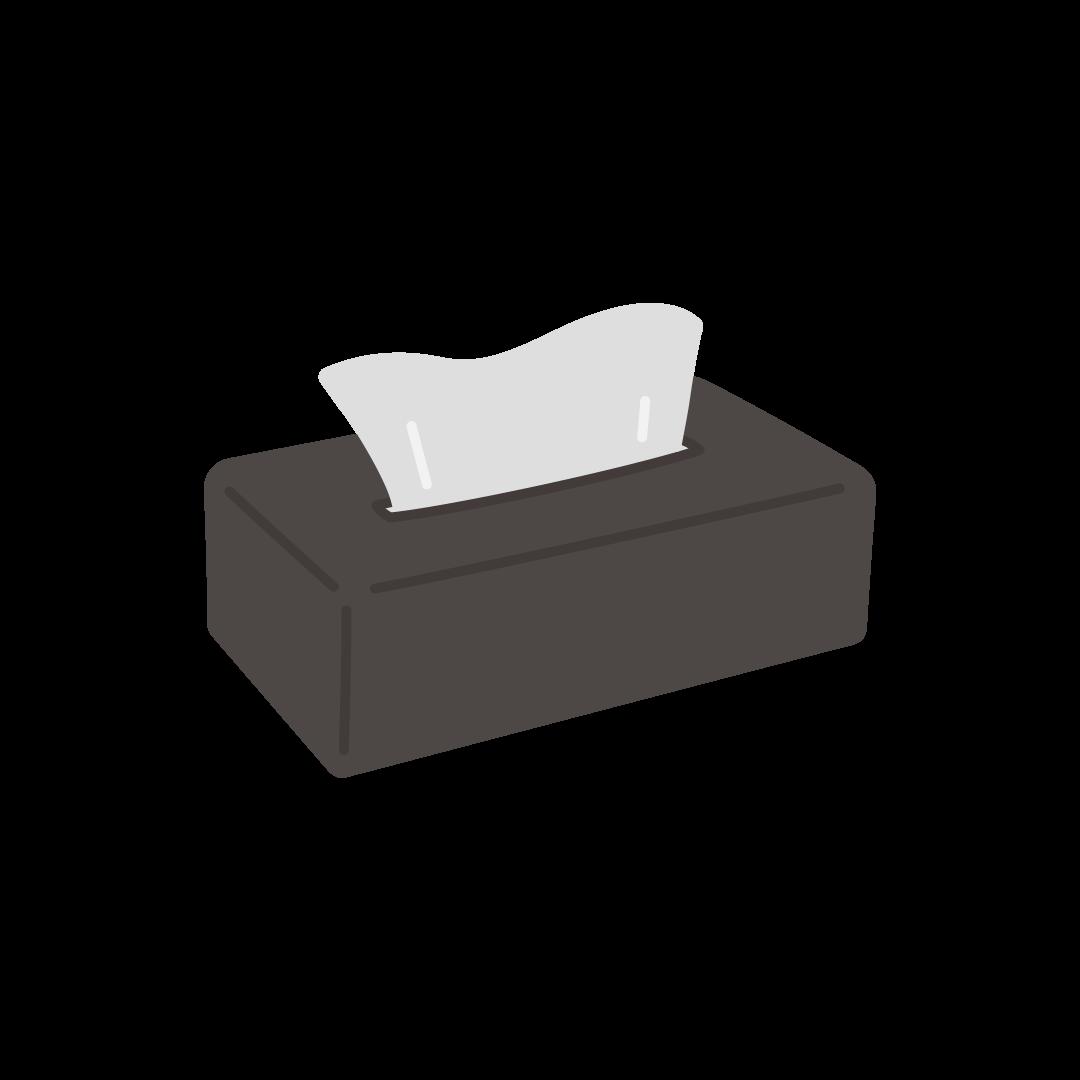 黒いケースに入ったティッシュペーパーのイラスト(塗り)