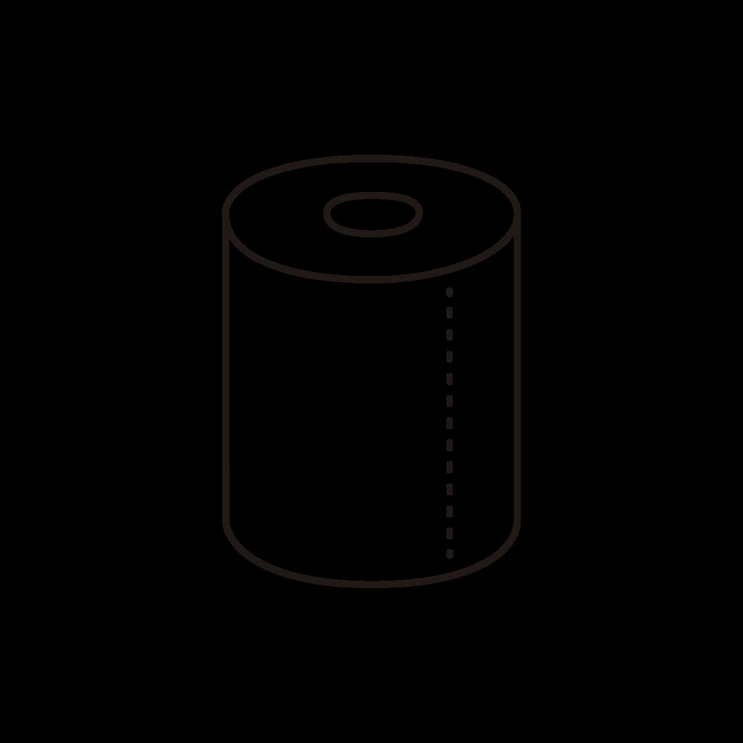 トイレットペーパーのイラスト(線のみ)