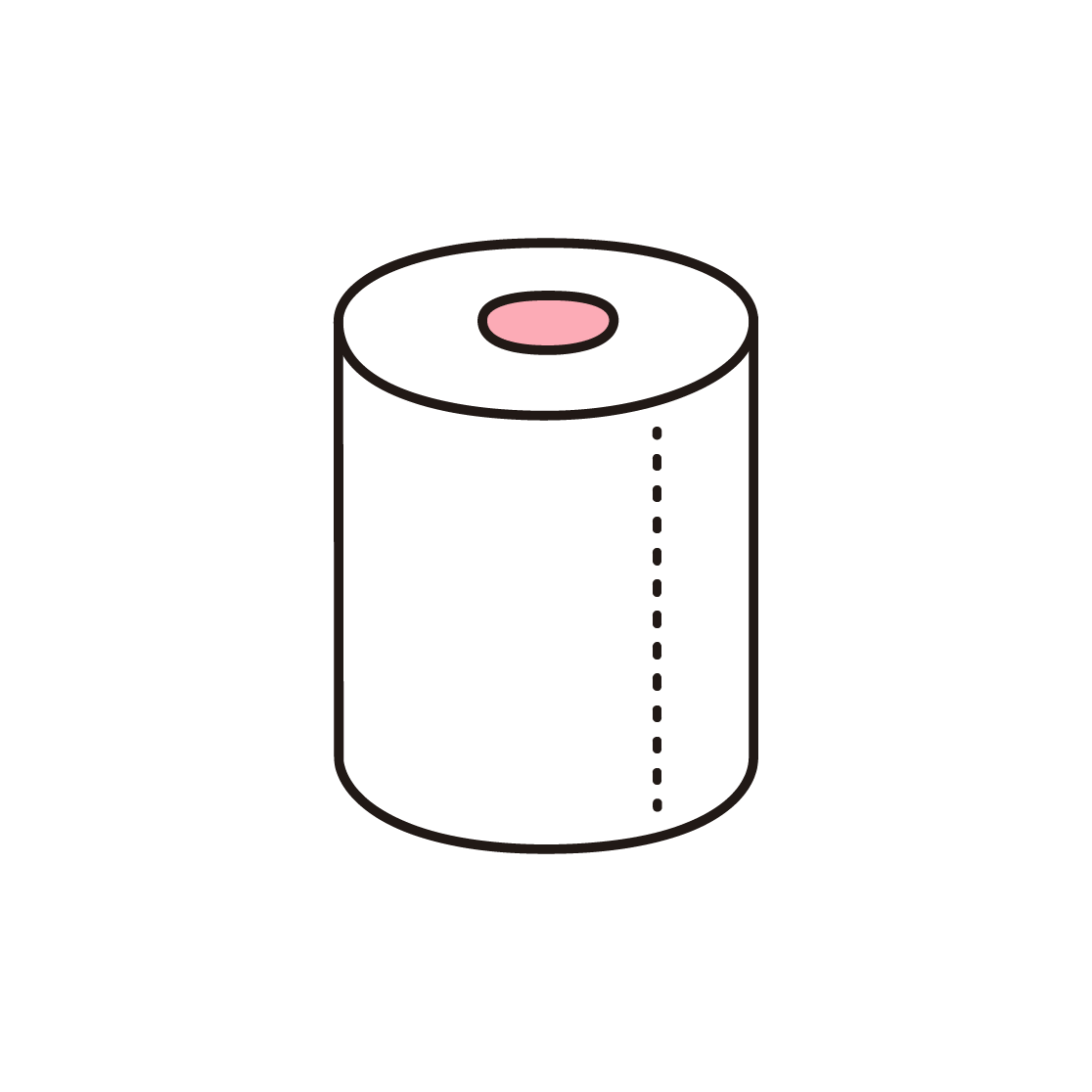 トイレットペーパーの単色イラスト