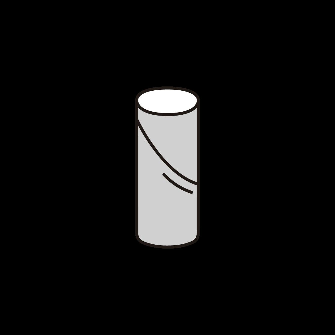 トイレットペーパーの芯の単色イラスト