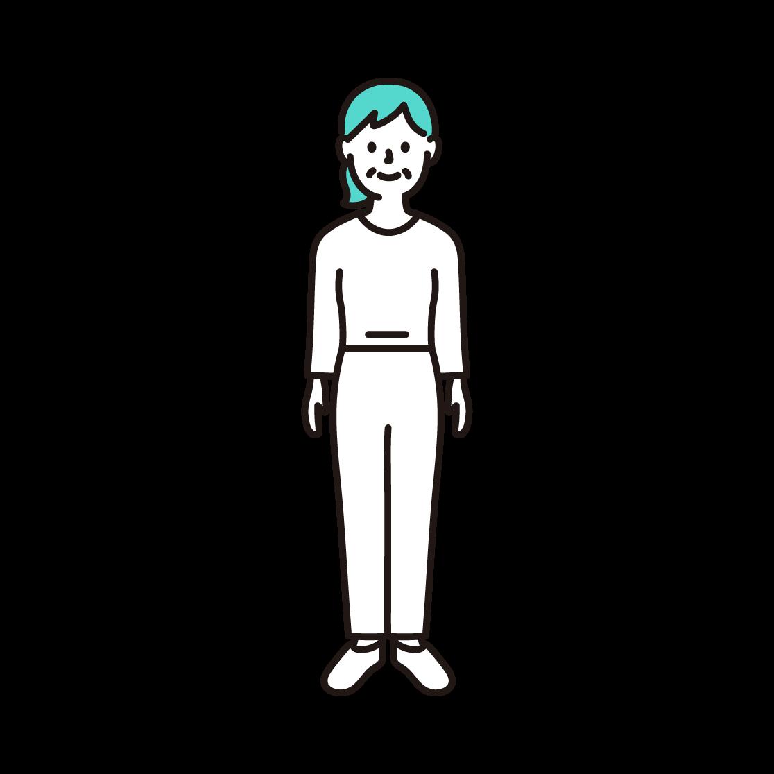 50代・60代の女性(全身)の単色イラスト