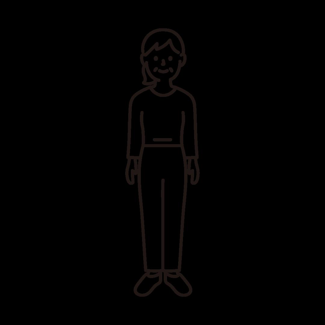 50代~60代の女性のイラスト(線のみ)