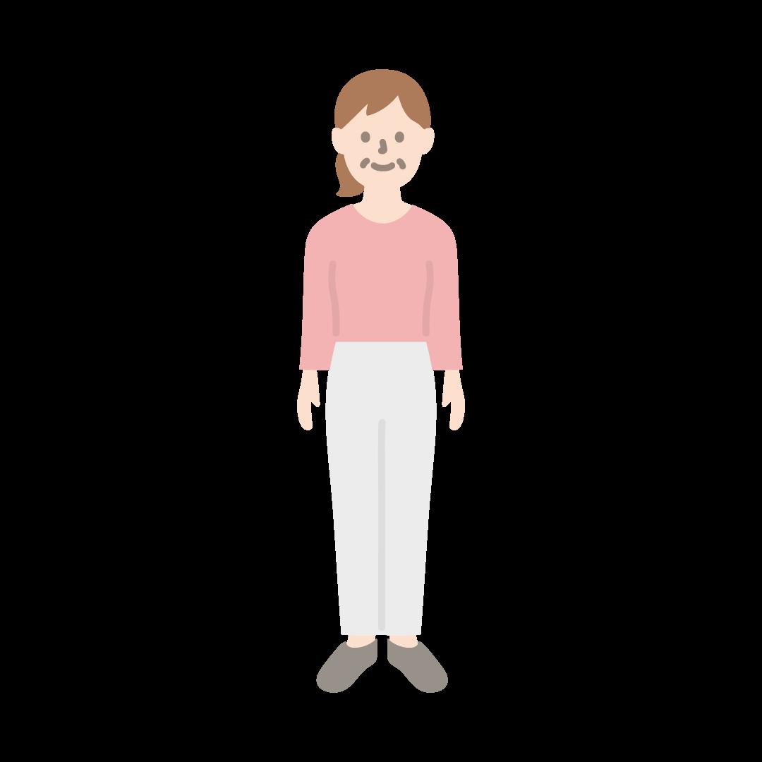 50代~60代の女性のイラスト(塗り)