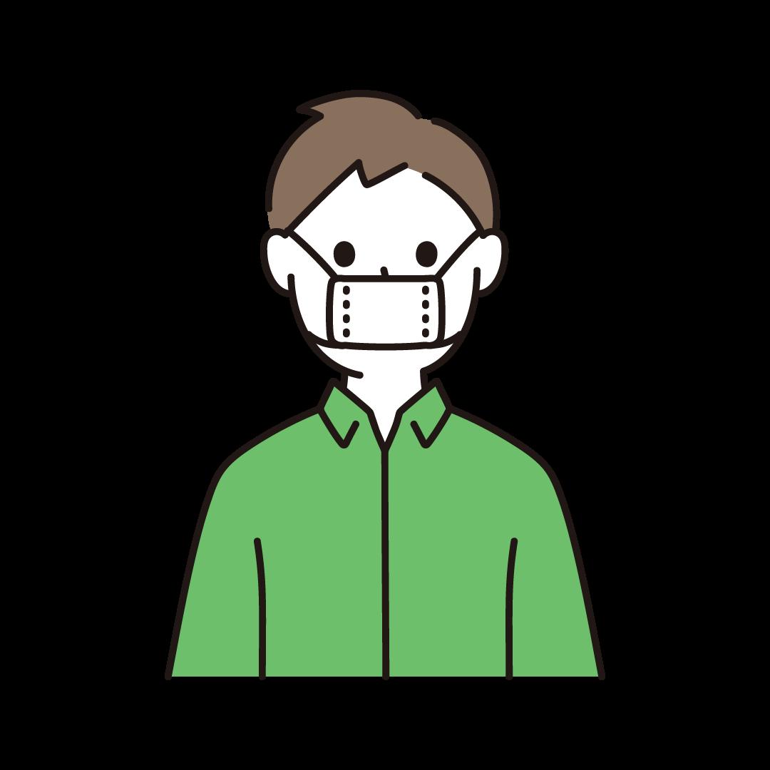 サイズの小さな布マスクをする人